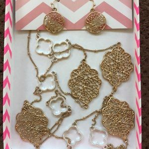 NWT Pink silhouette necklace n earring set